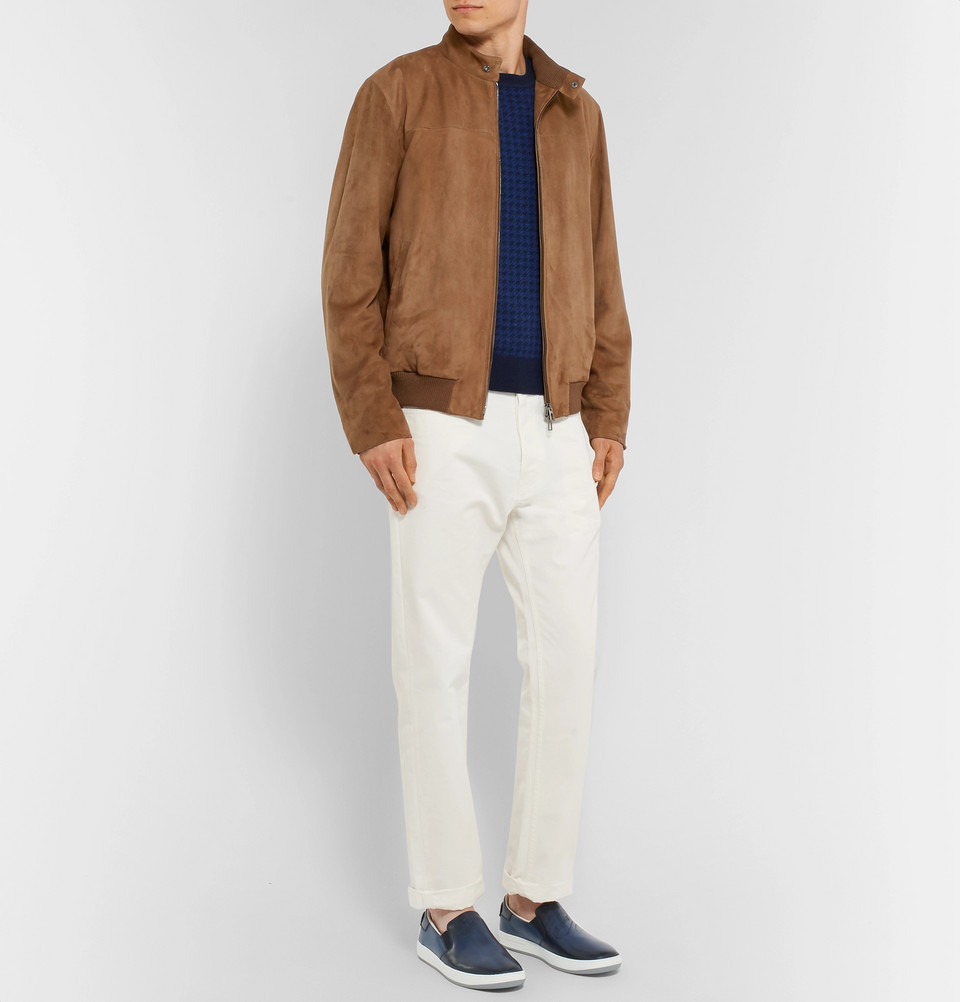 Loro Piana Rain System Suede Bomber Jacket Brown Mr Porter