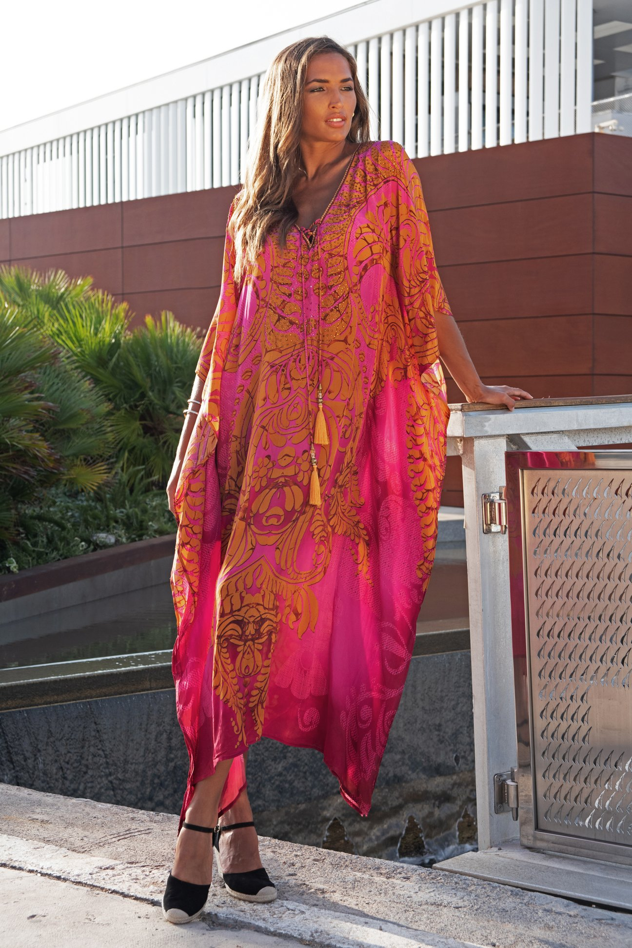 Pink and Orange Maxi Dress Kaftan