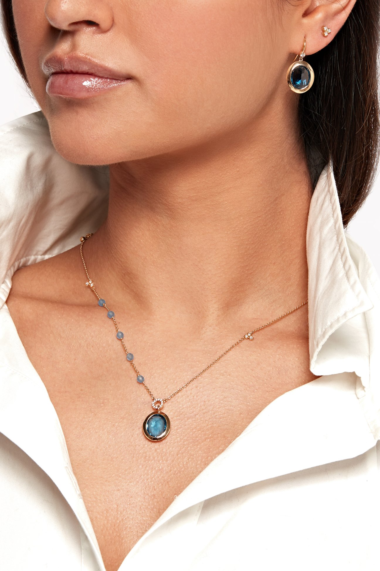 Blue Diamond Drop Earrings and Necklace