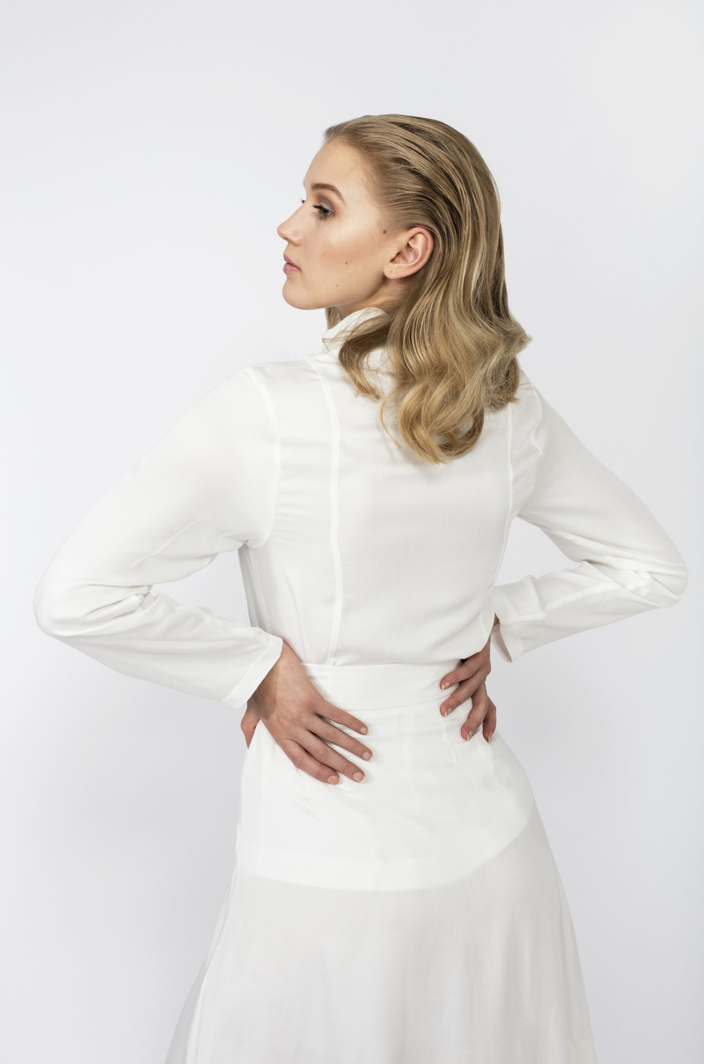 Women's High Collar Classic White Shirt