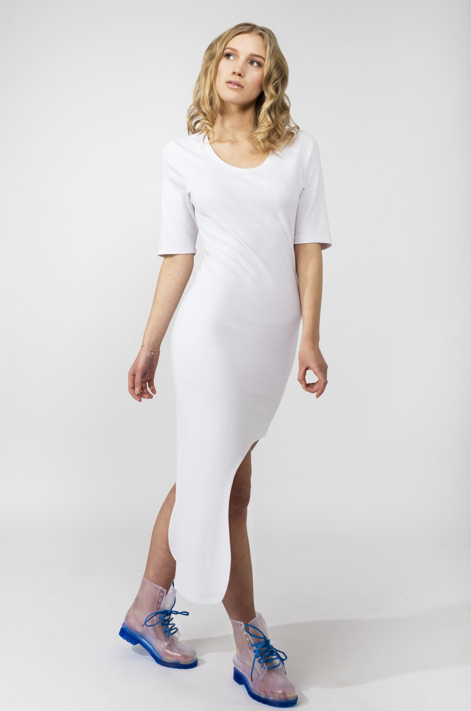 White Asymmetrical Hem Dress