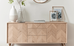Oak Chevron Sideboard Console