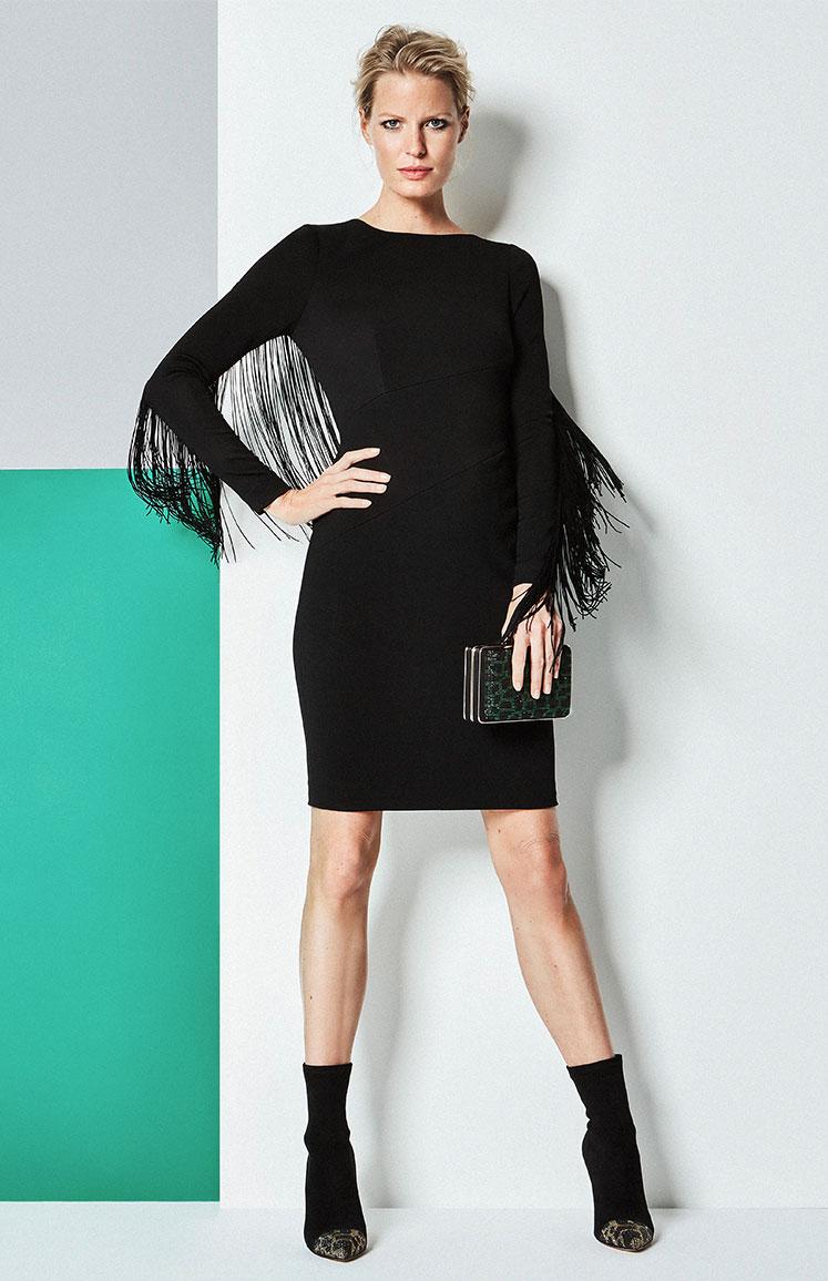 Black Fringed Sleeve Dress