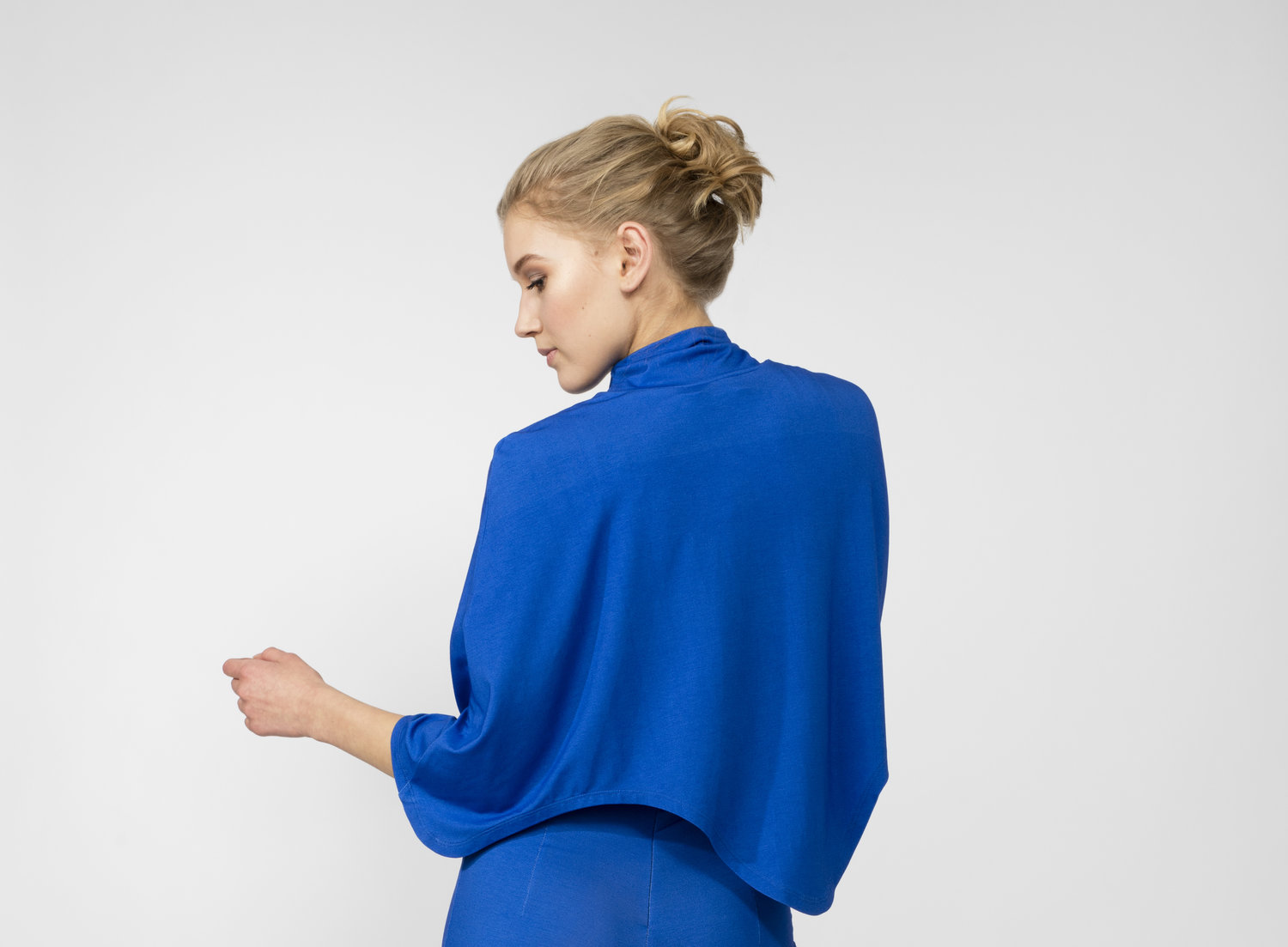 Blue Curved Hem Cape