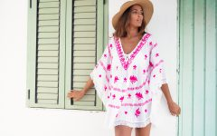 White and Pink Embroidered Kaftan