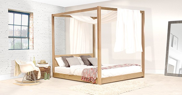 Low Four Poster Wooden Bed