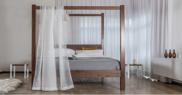 Modern Dark Wood Four Poster Bed