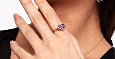 Purple Sapphire Earrings Ring and Necklace Set