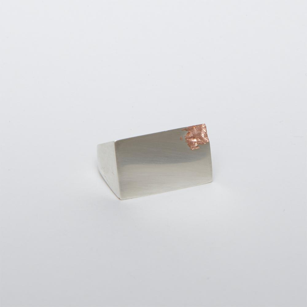 Men's Square Silver Ring with Rose Gold