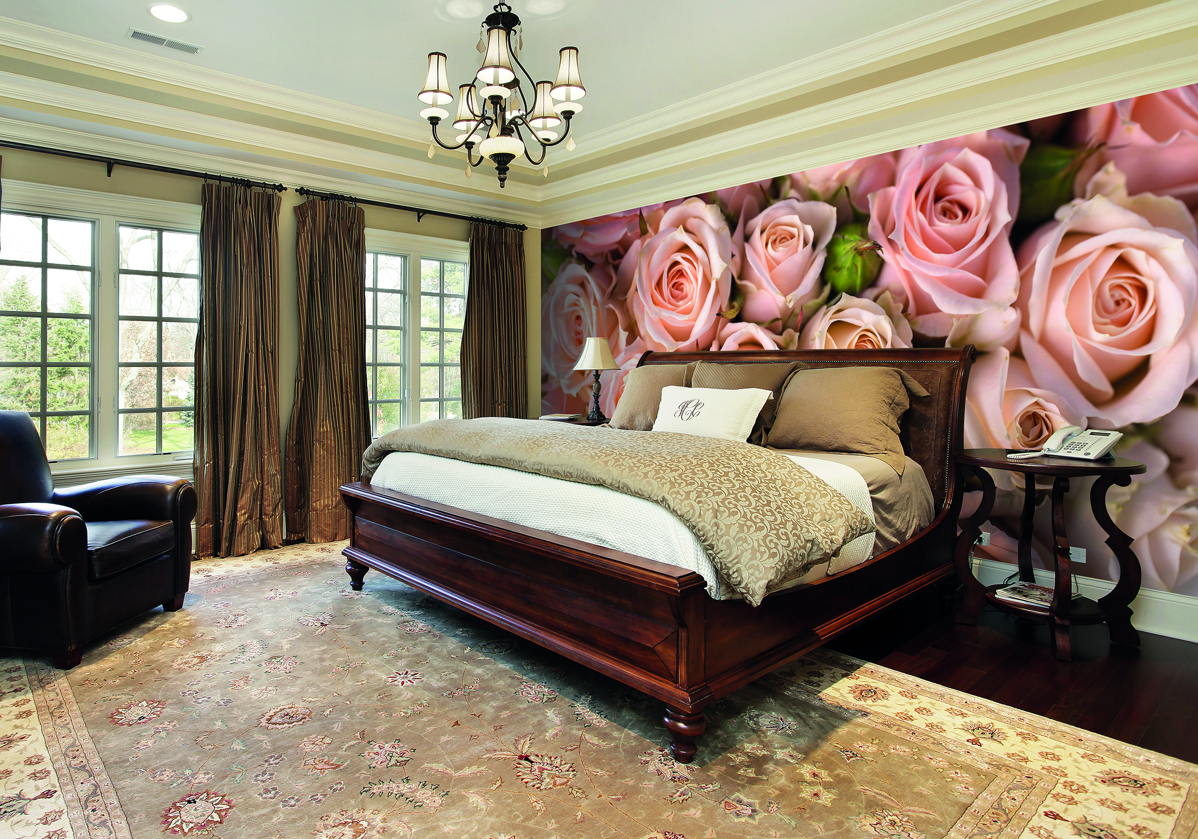 Pink Roses Wall Art Wallpaper Mural