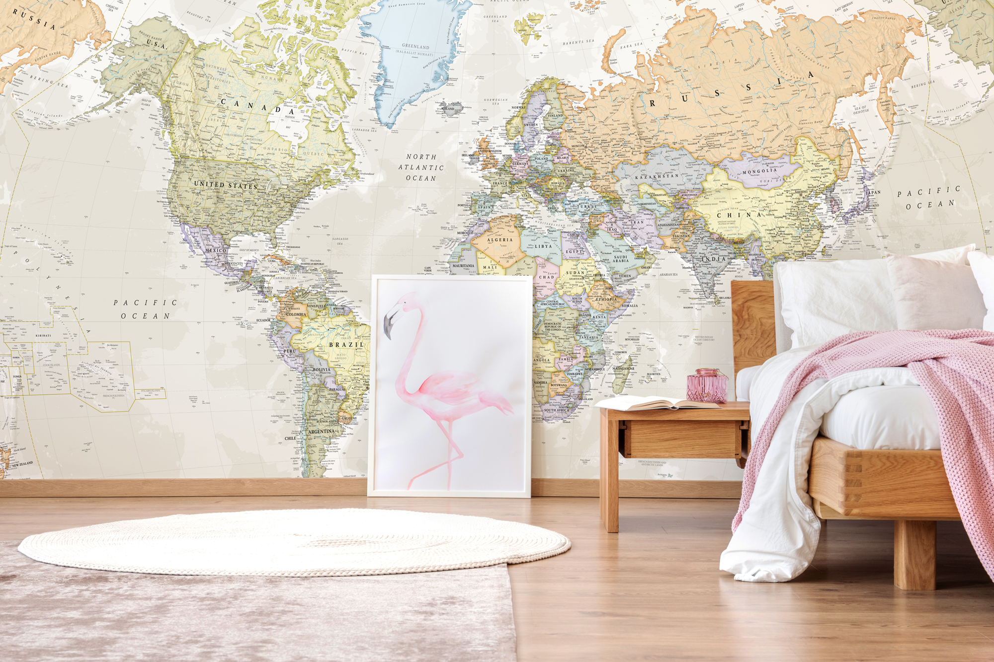 World Map Wallpaper Mural Wall Art