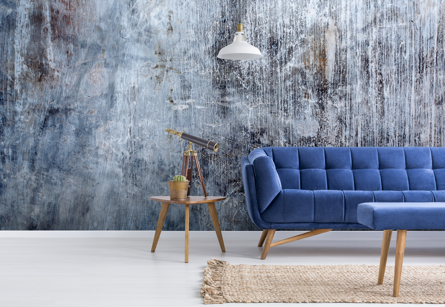 Concrete Marble Effect Wallpaper Wall Art Mural Blue Grey