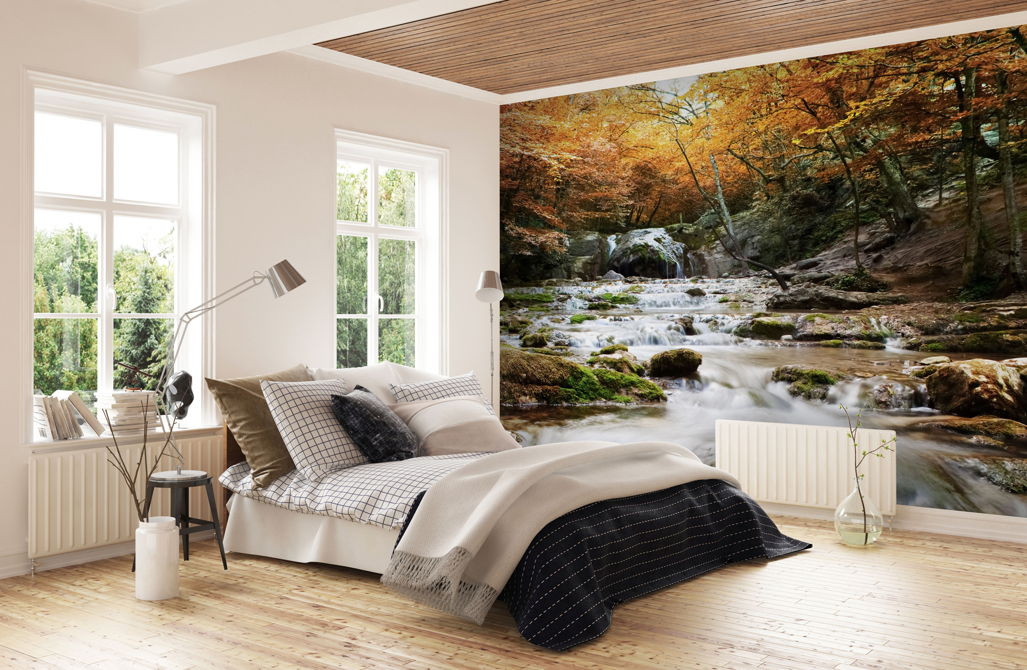 Waterfall Autumn Photographic Wall Art Wall Paper Mural