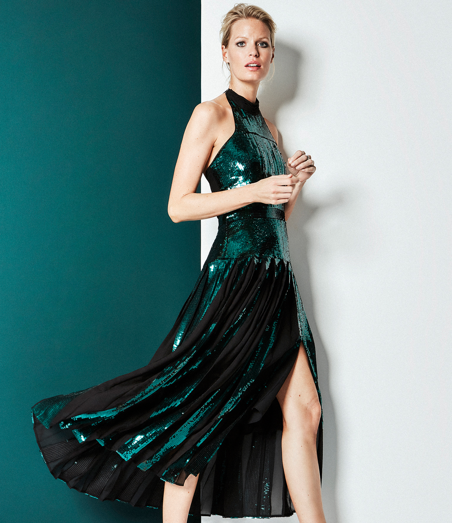 Dark Green Halterneck Sequin Dress