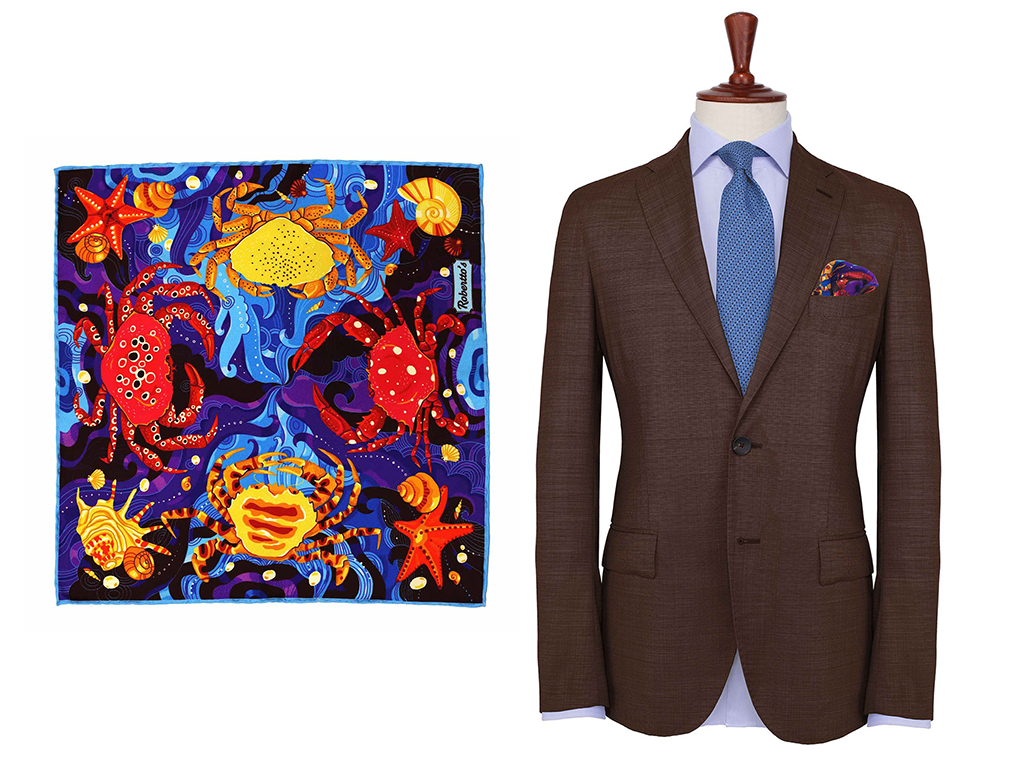 Crab Cancer Silk Pocket Square