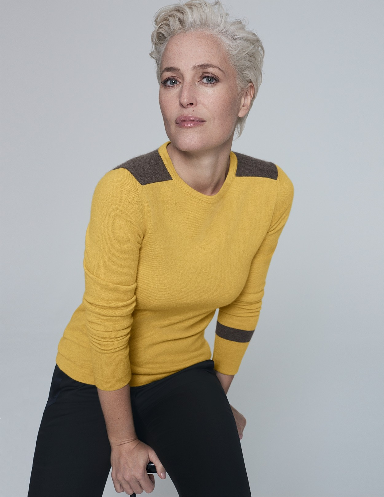 Gillian Anderson Mustard and Mink Cashmere Jumper