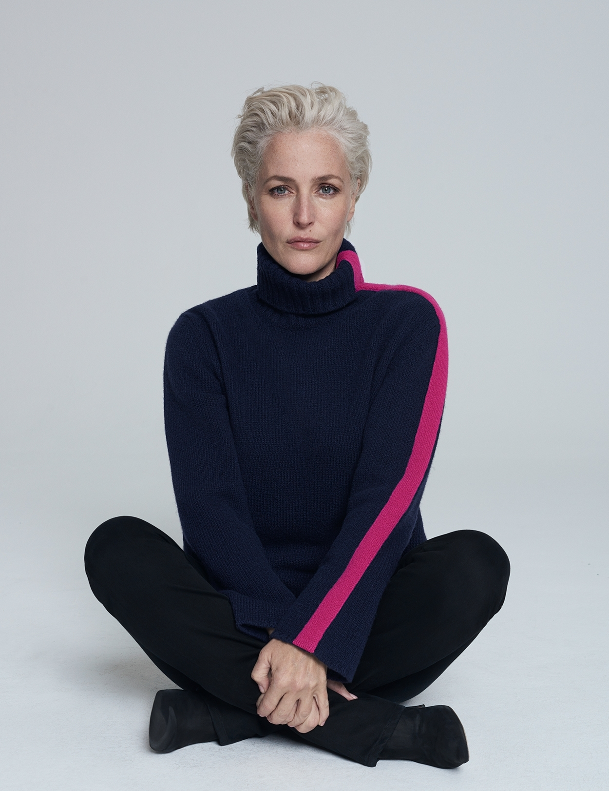 Cashmere Roll Neck Jumper with Pink Stripe