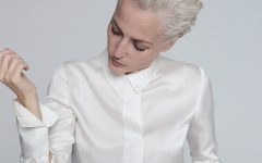 Gillian Anderson Ivory Silk Blouse