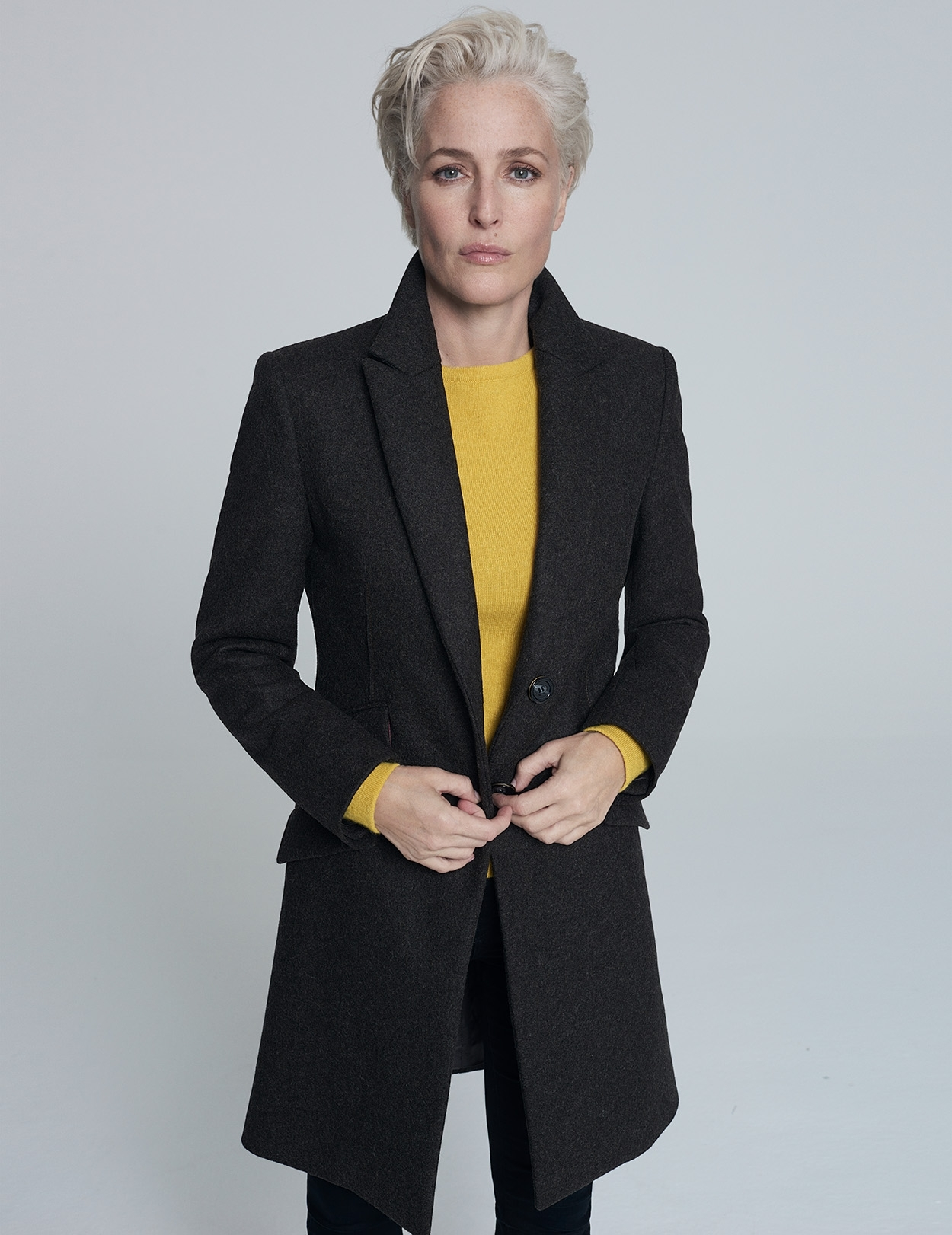 Gillian Anderson Wool Tailored Coat