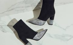 Black Boots with Crystal Embellishment