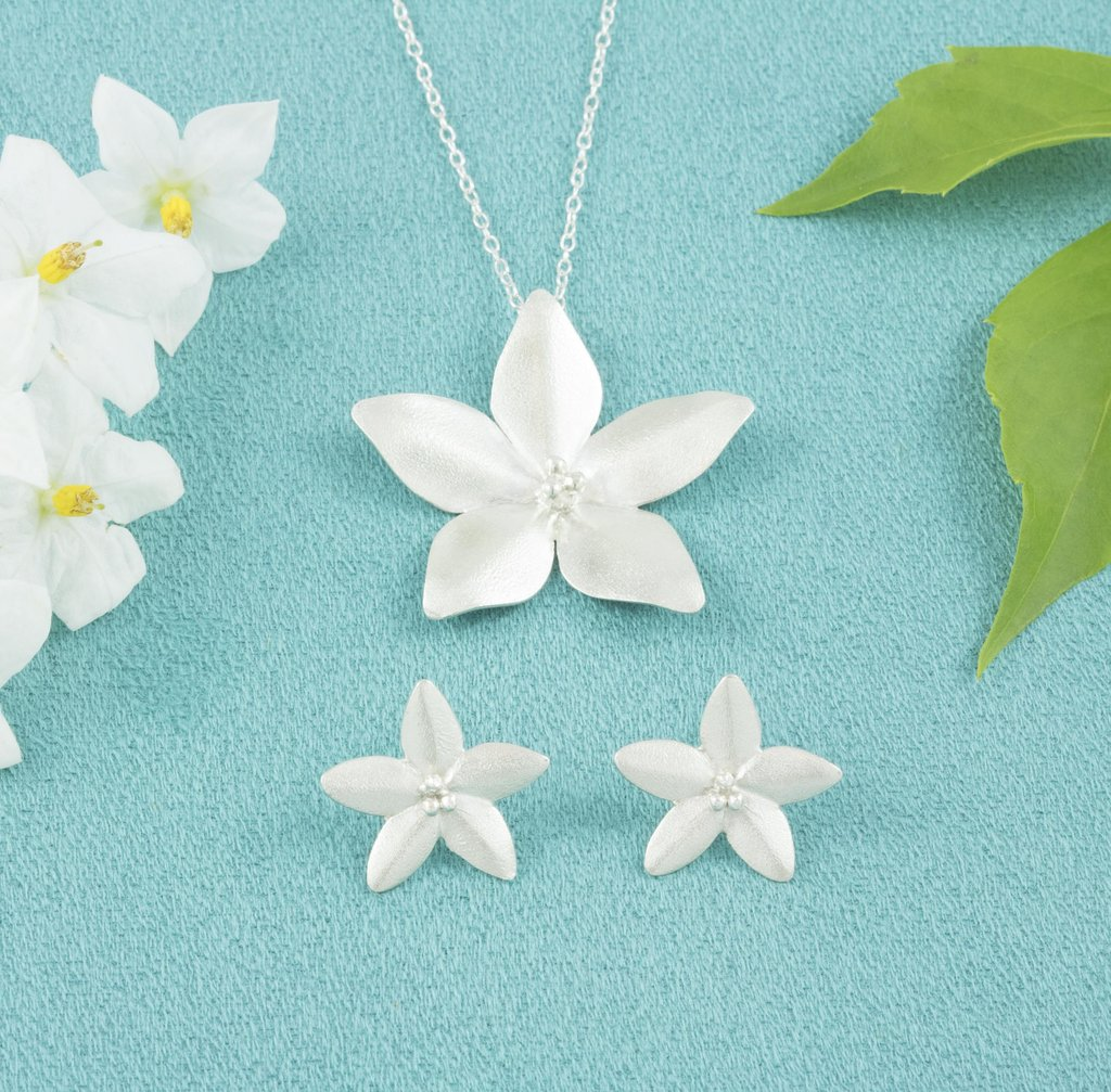 Sterling Silver Jasmine Pendant and Studs