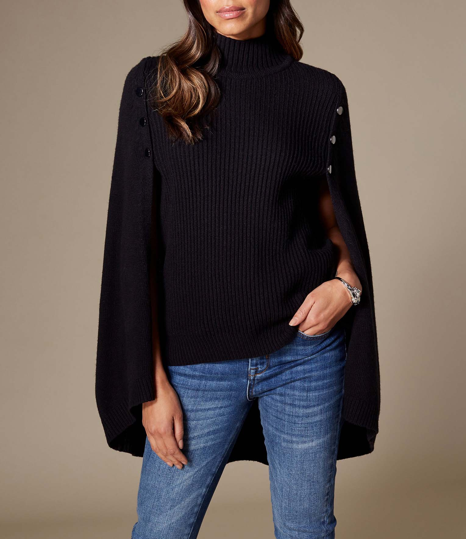 Black High Neck Knitted Cape