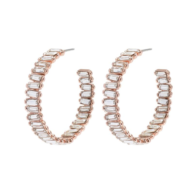 Baguette Stone Hoop Earrings