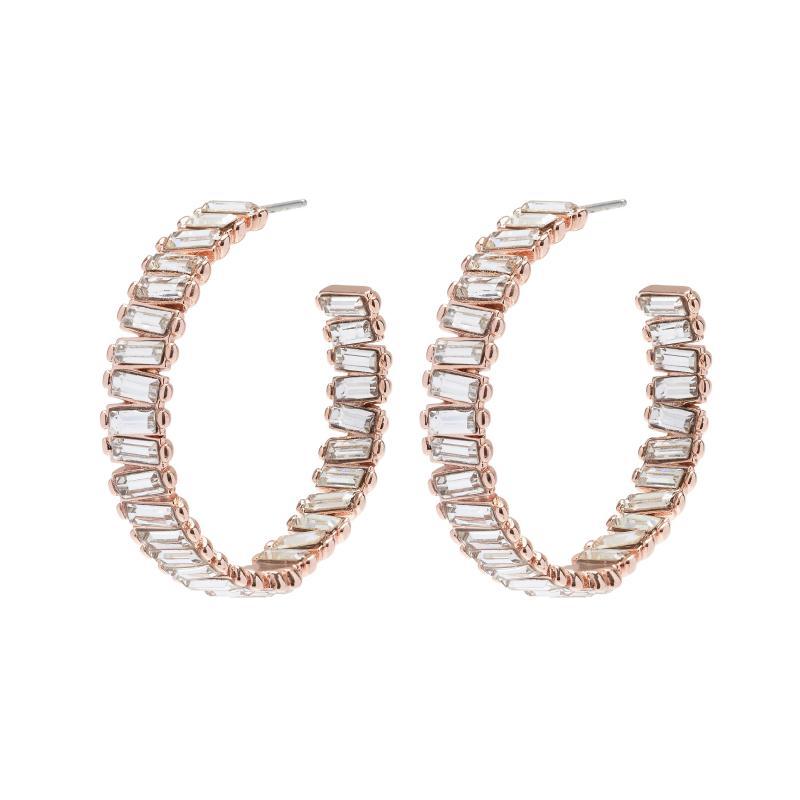 Baguette Stone Hoop Earrings
