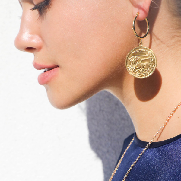 Hoop Earrings with Coins