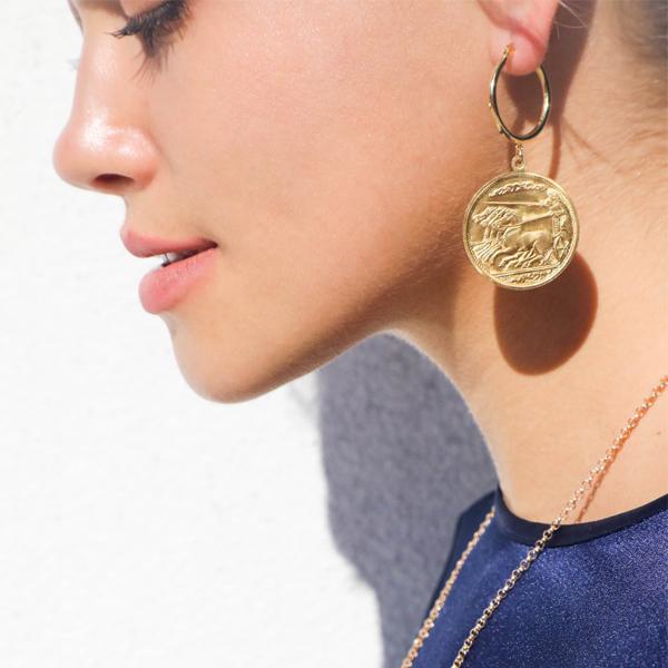 Hoop Earrings with Coins