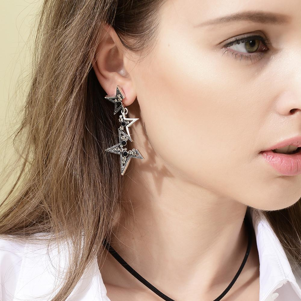 Silver and Black Star Statement Drop Earrings