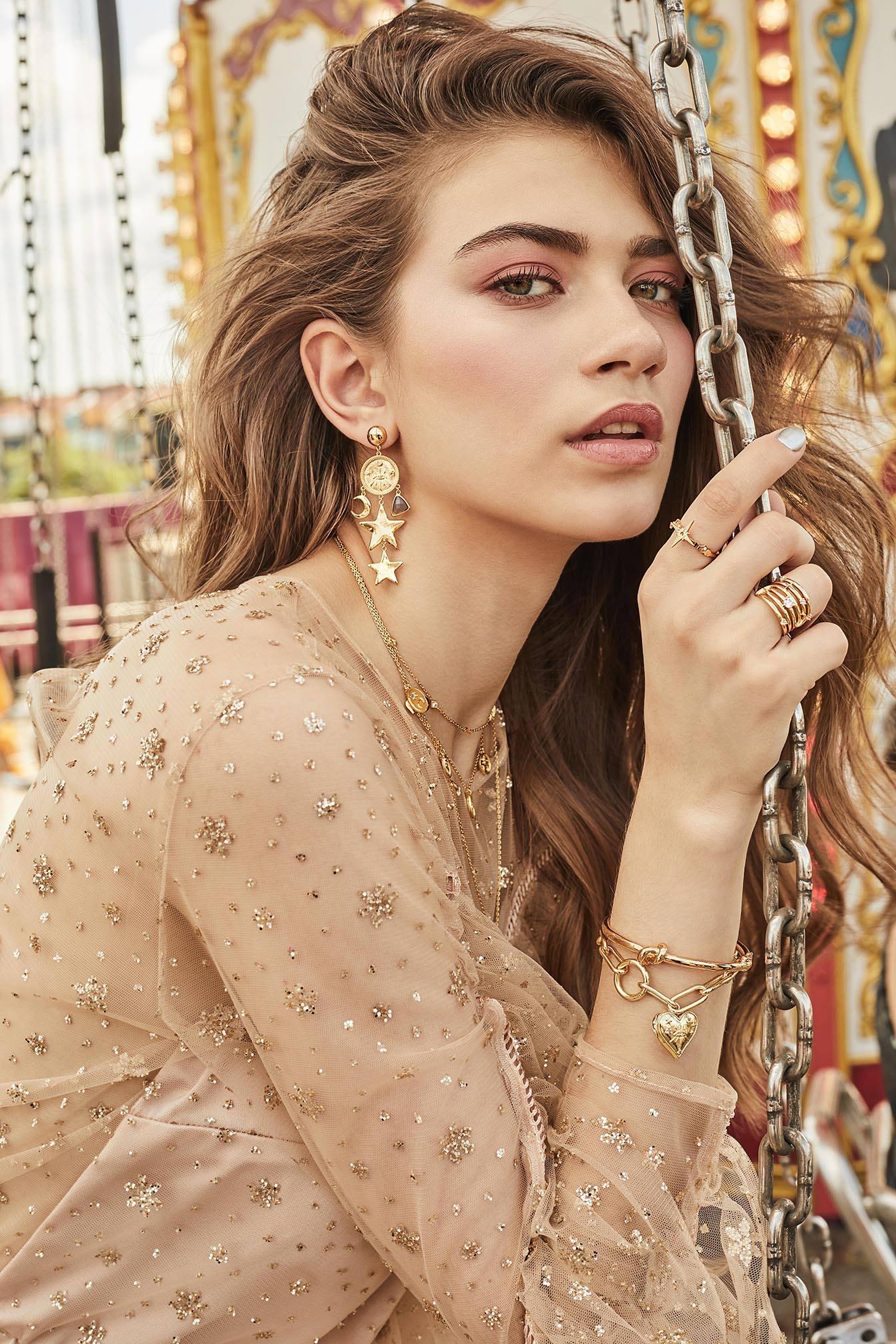 Gold Stars Statement Drop Earrings