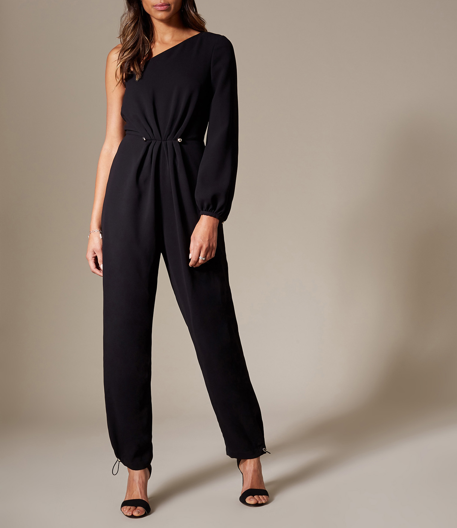 Women's Black One Shoulder Jumpsuit