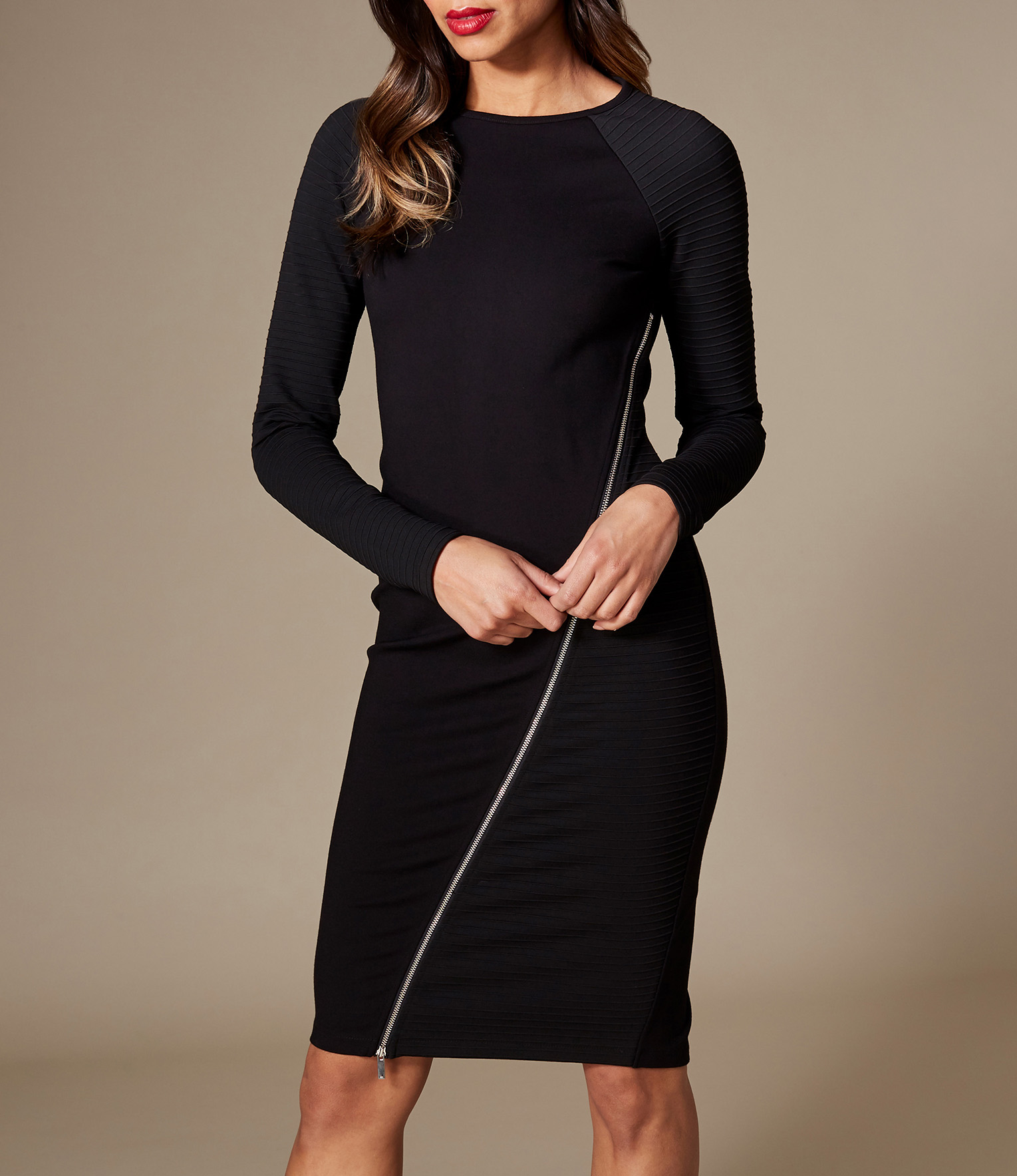 Zip Detail Black Midi Bodycon Dress