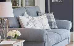 Pale Blue Sofa with Floral and Check Cushions