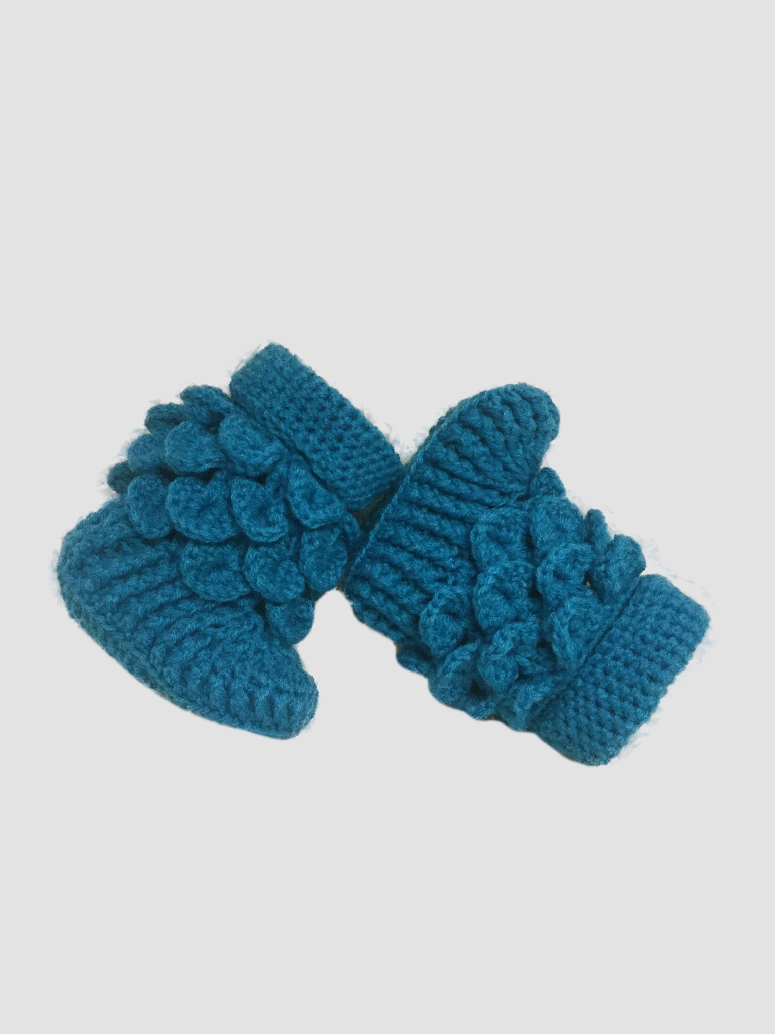 Blue Crocheted Baby Booties
