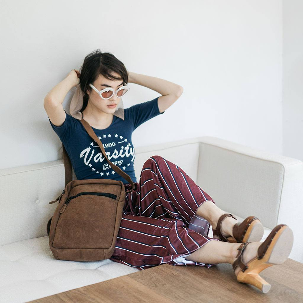 Brown Leather Tablet Shoulder Bag