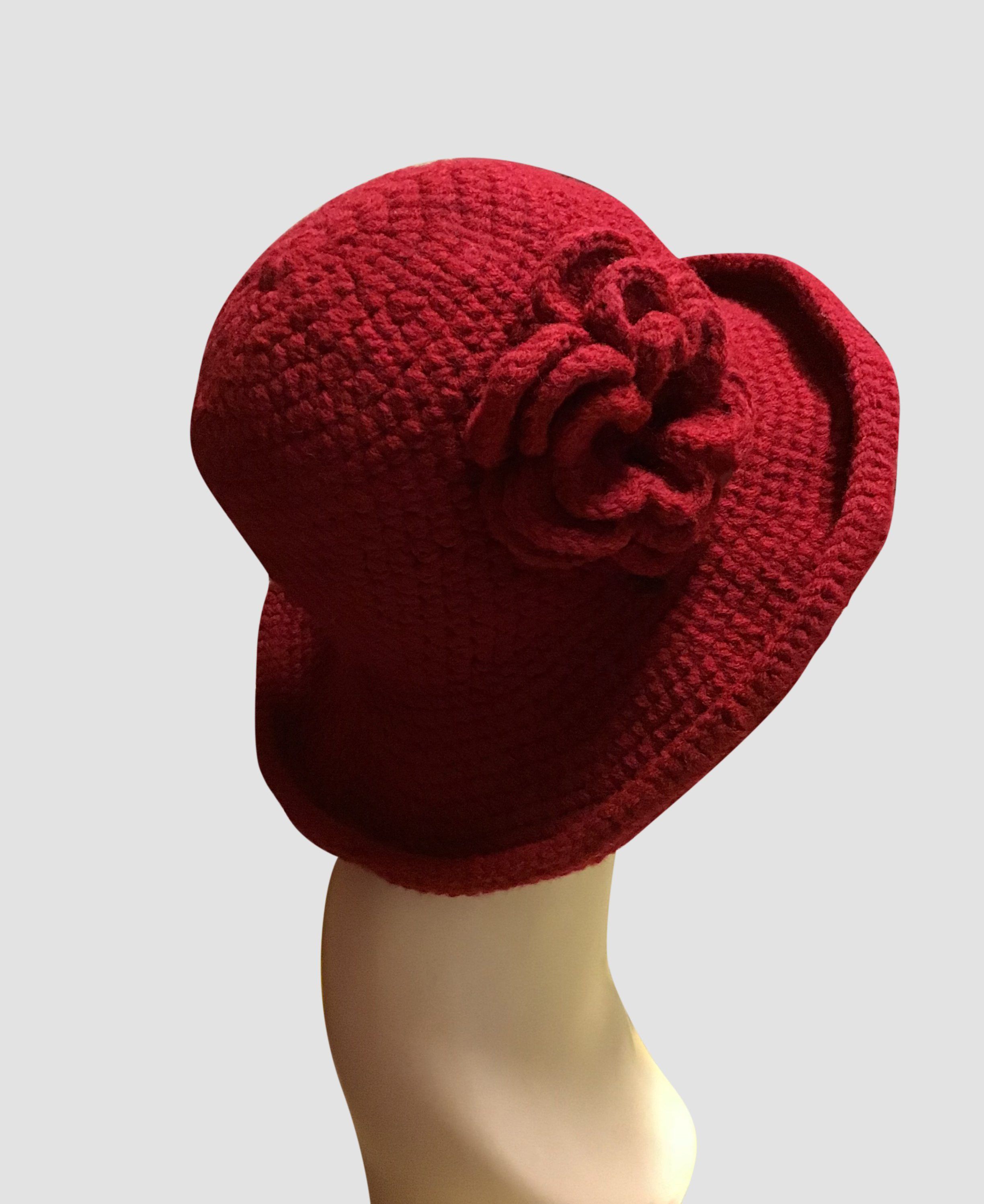 Red Brimmed Crocheted Hat