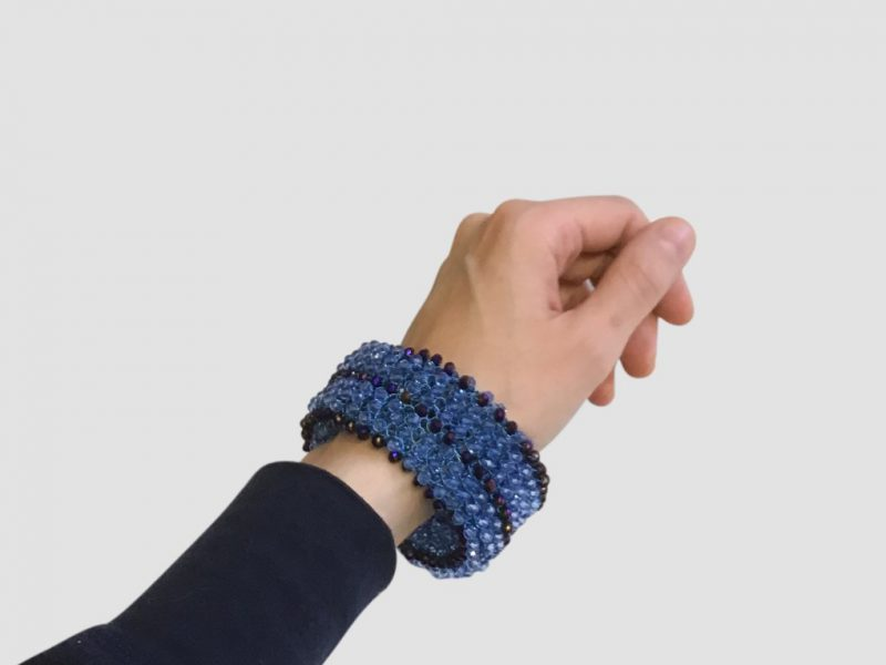 Crocheted Statement Cuff Bracelet Blue