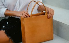 Luxury Leather Mini Tote Bag Camel