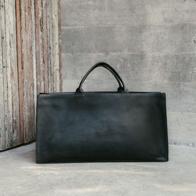 Women's Black Leather Executive Tote Bag