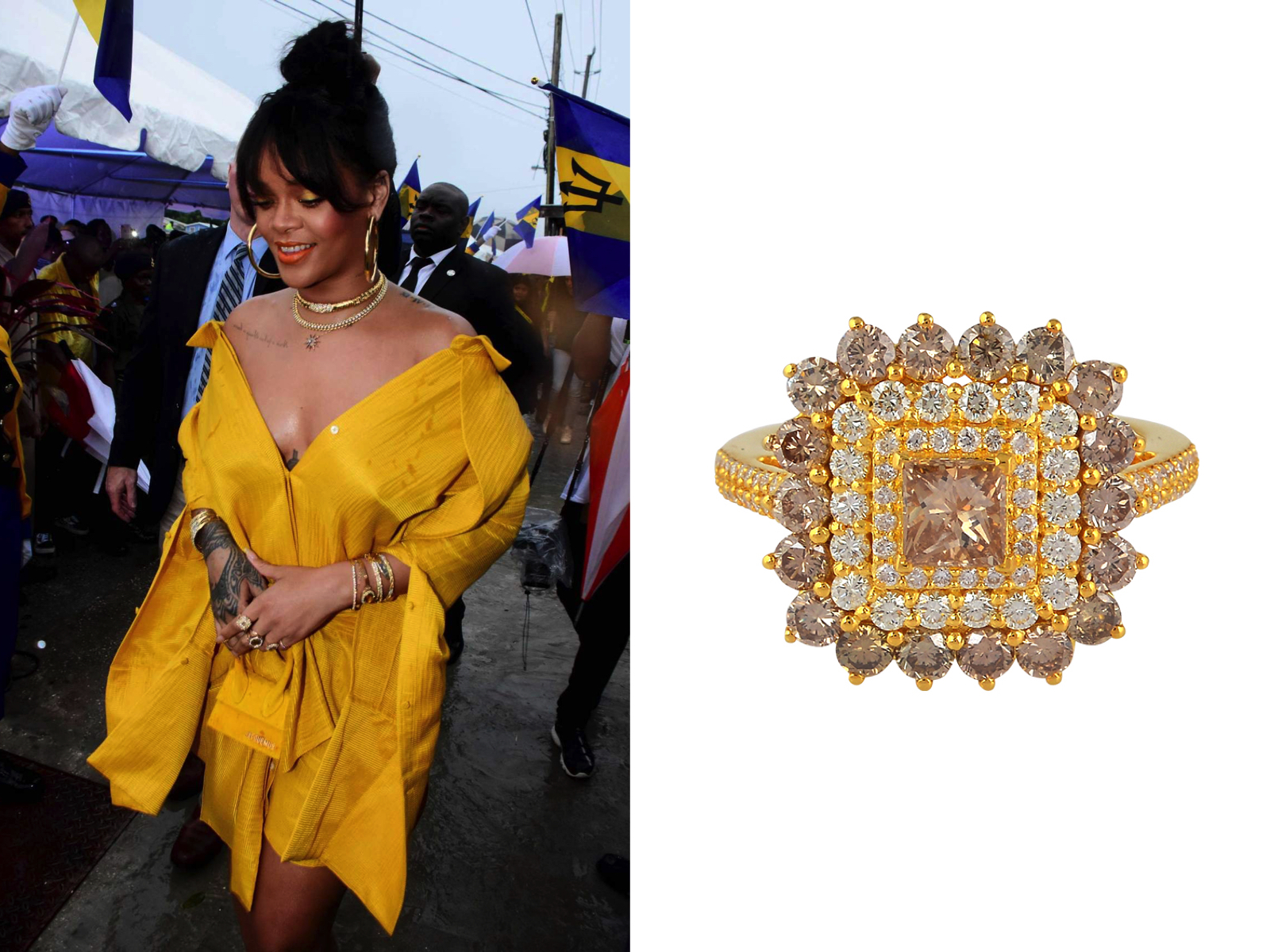 Rihanna wearing PHERES Azalea Diamond Ring