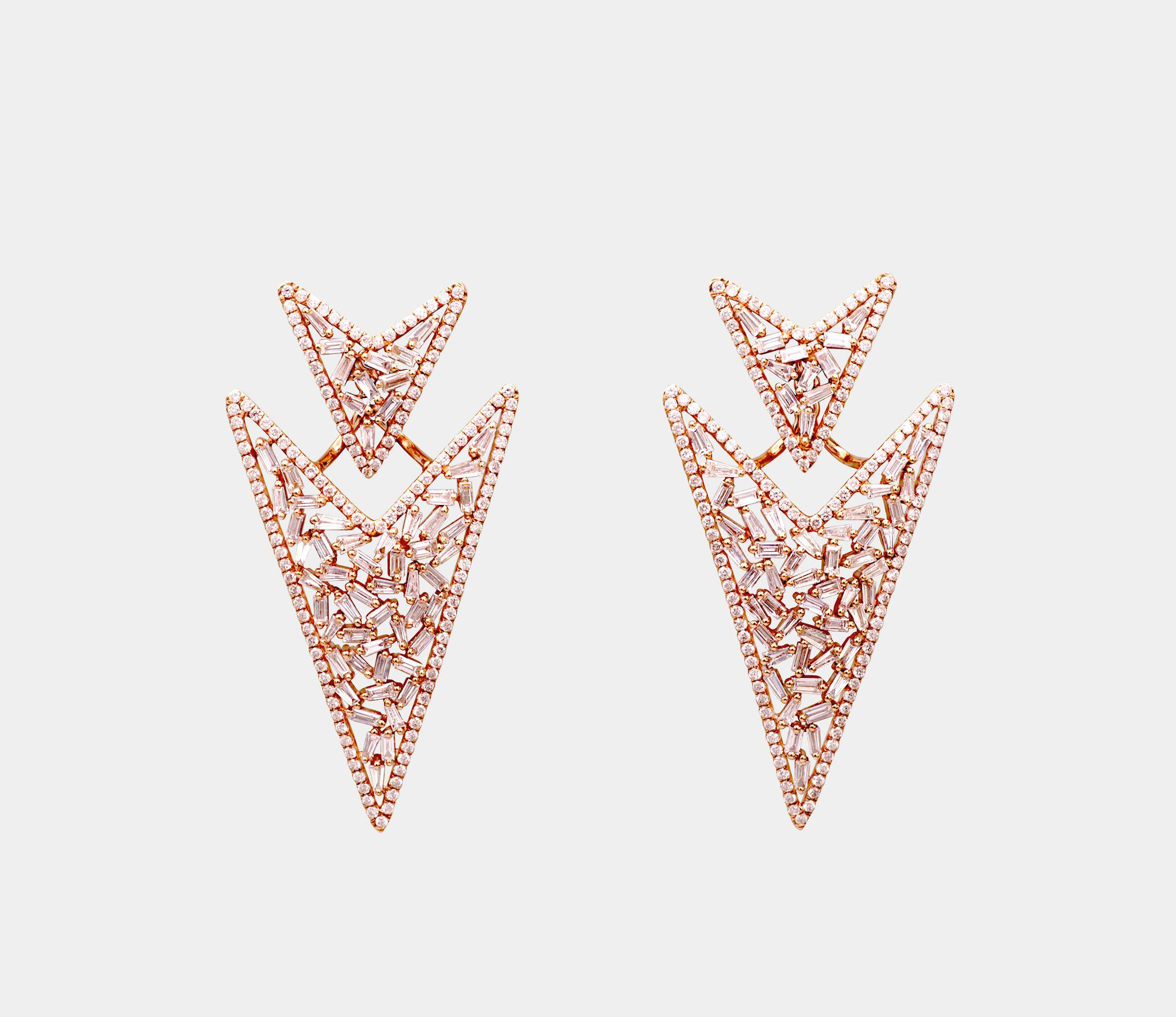 Accacia Arrow Head Rose Gold Diamond Earrings Pheres