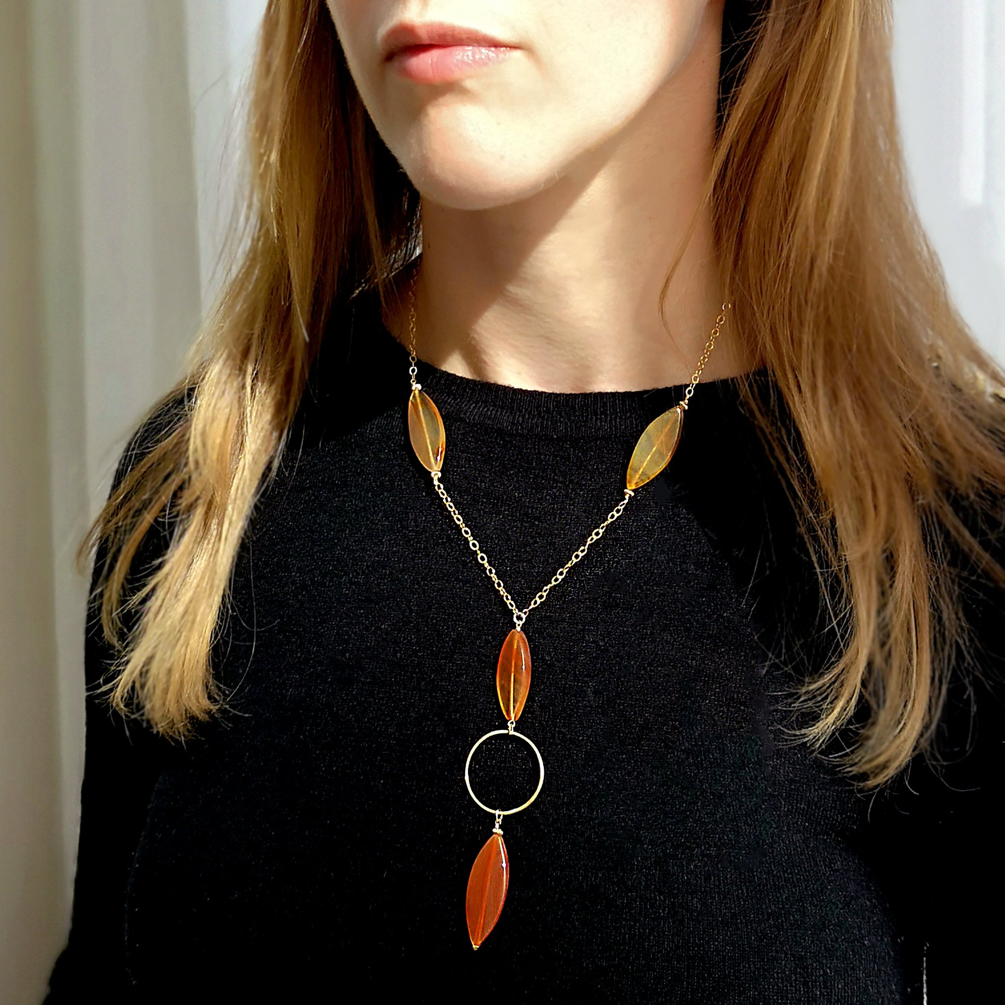 Brazilian Agate Smokey Quartz Semi Precious Gemstones Necklace