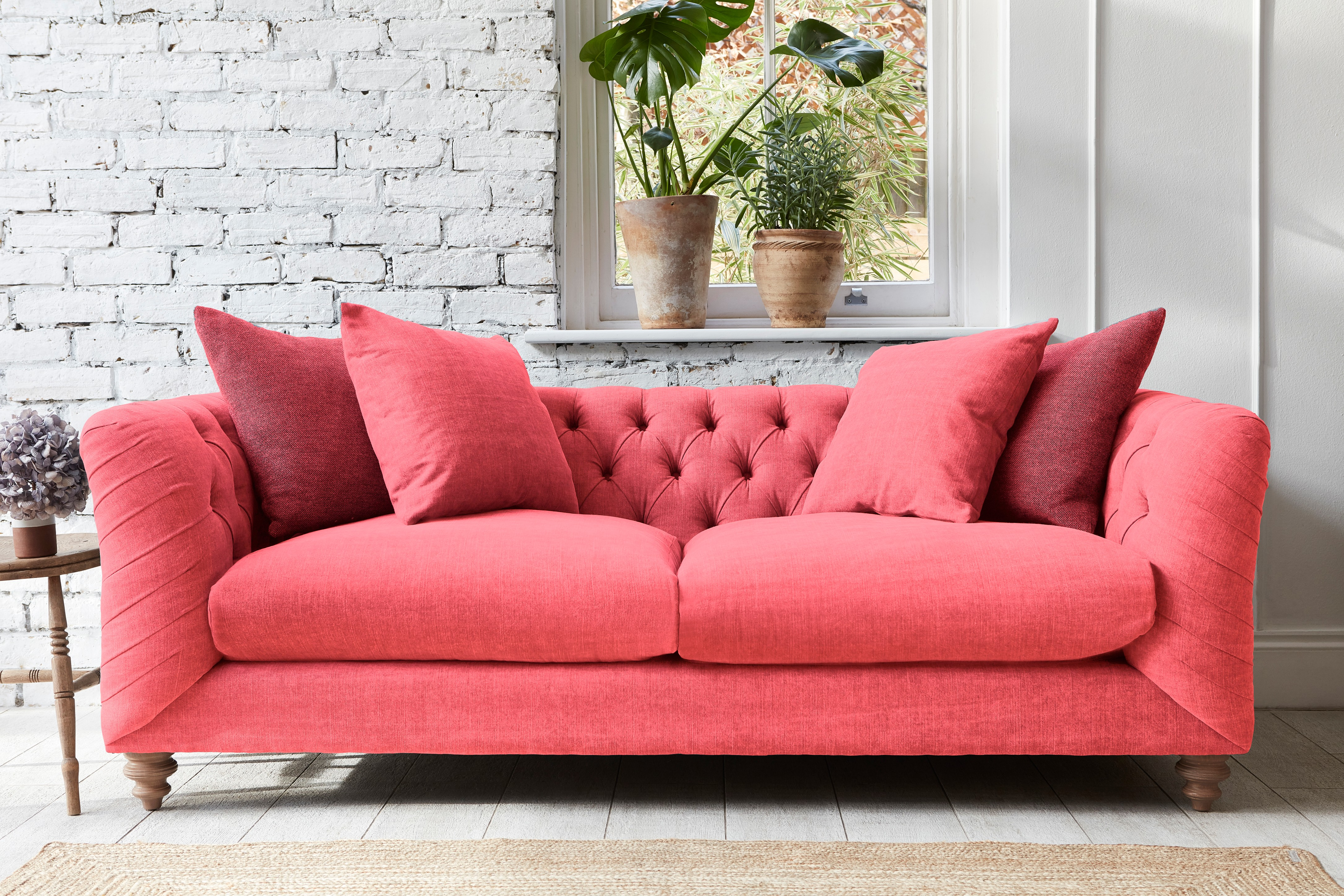 Pink Living Coral Chesterfield Sofa