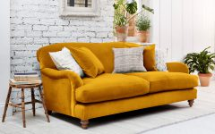Mustard Colour Contemporary Velvet Sofa