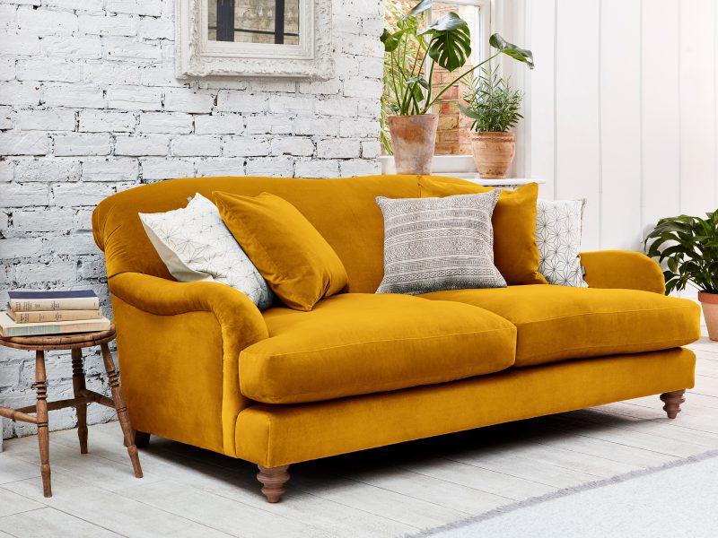 Mustard Colour Contemporary Velvet Sofa