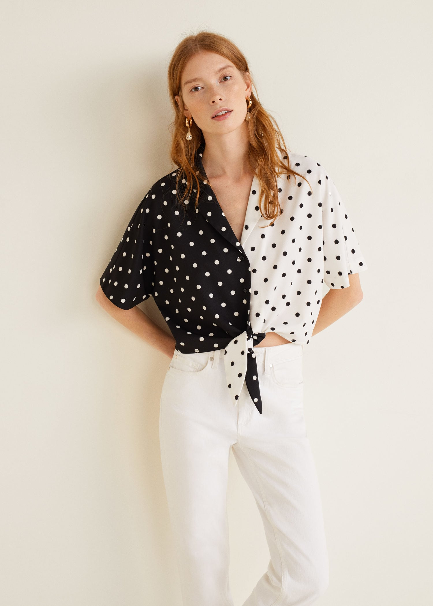 Black and White Knotted Front Women's Blouse