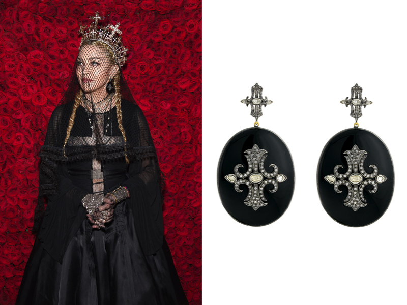 Madonna at the 2018 Heavenly Bodies MET Gala wearing Narcisa Pheres Anysia Earrings