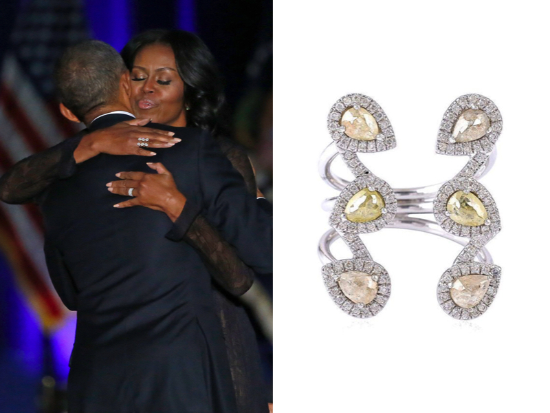 Michelle Obama wearing Pheres Diamond Ring at President Barack Obama's Farewell Address